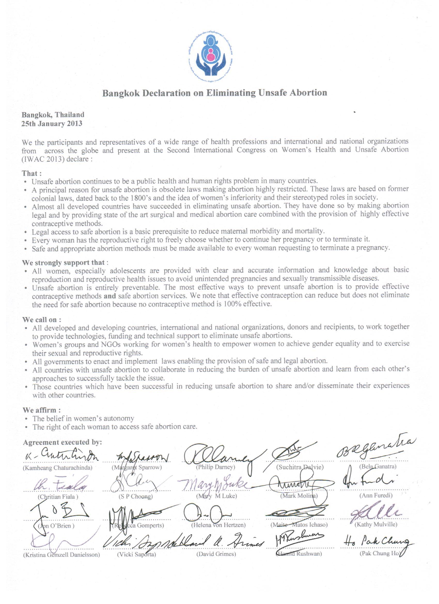 IWAC2013 Bangkok Declaration