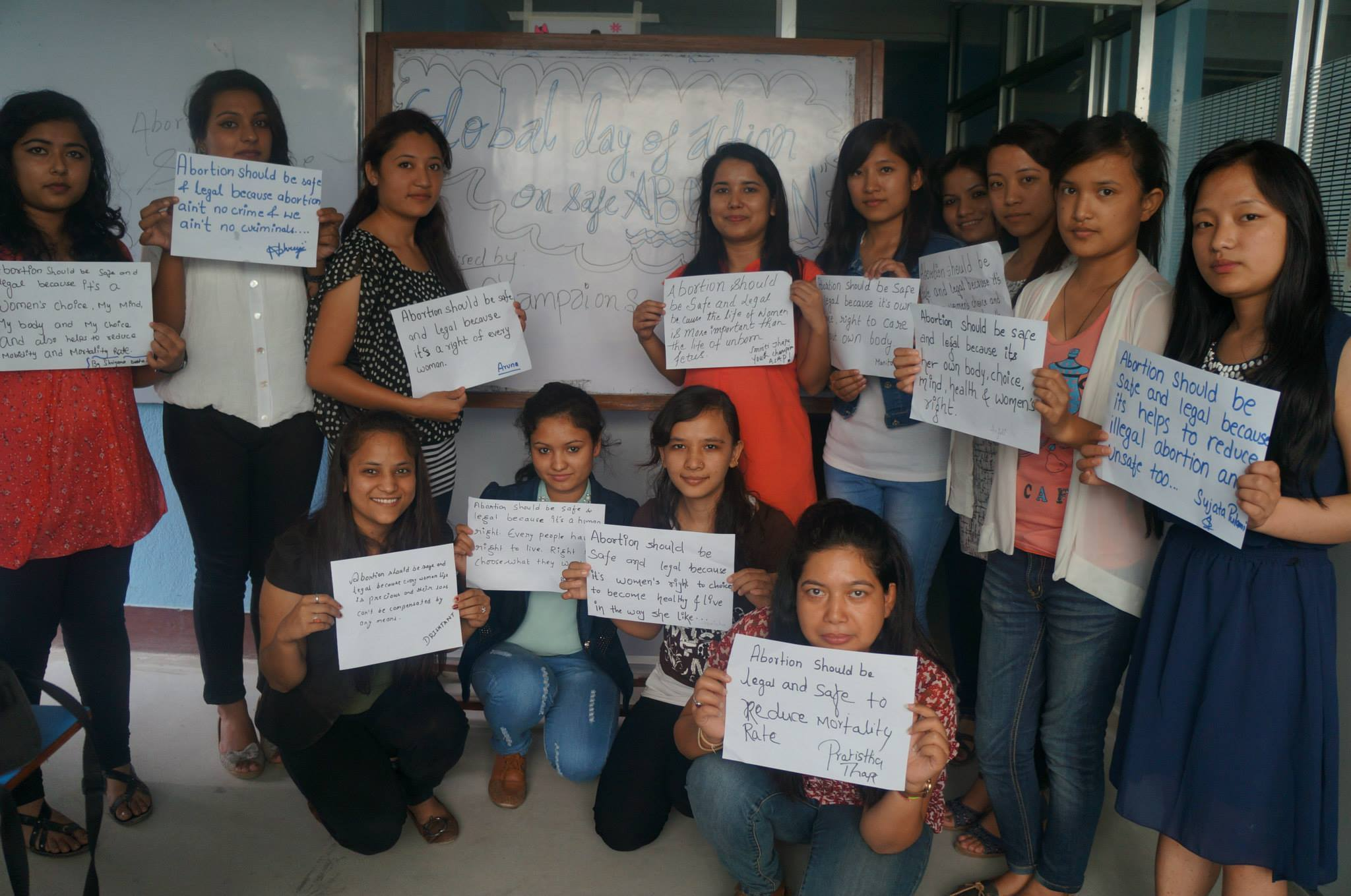 Youth Champion Smriti Thapa With Nursing Students in Nepal